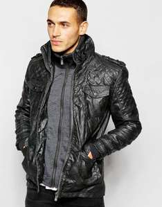 Barneys Faux Leather Double Layer Jacket - Size Small £24 ASOS
