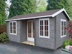 26X14. 8x4 metres, 2 room's. ELVEDEN 44MM TONGUE & GROOVE TIMBER LOG CABIN WITH FELT ROOF TILES £5548.50 Delivered @ B&Q