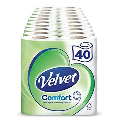 Velvet White 3-ply Tissue 40 Rolls £12.50 (Prime) / £17.25 (non Prime) @ Amazon
