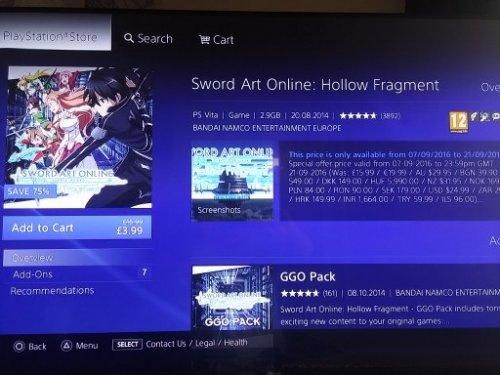 Sword Art online - Hollow fragment PS4 or PS VITA £3.99 PSN