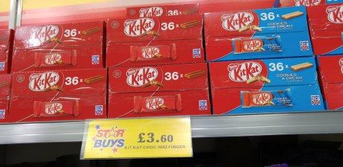 Box of 36x2 finger KitKat's for £3.60 @ Home Bargins (In Store)