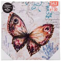 Vintage Butterfly Canvas - £0.10 - B&M Retail