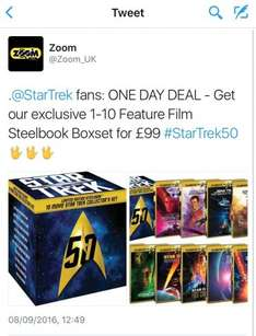 Star Trek 1-10 Steelbook Boxset - £99 for one day @ Zoom