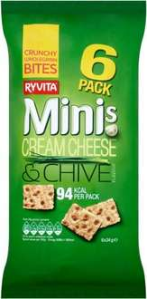 Ryvita Minis Cream Cheese & Chives (24g x 6 per pack) / Ryvita Minis Salt & Vinegar (24g x 6 per pack) / Ryvita Minis Sweet Chilli (24g x 6 per pack) was £1.89 now 94p @ Ocado