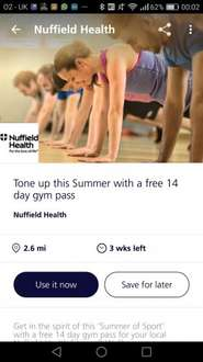 Free 14 day gym pass in Nuffield with O2 Priority Moments