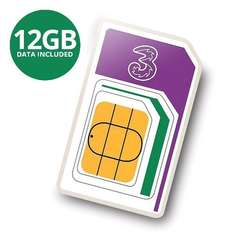 Three 3 PAYG 4G Trio Data SIM Pack Preloaded with 12GB of Data Three Sizes £24.99 @ 7dayshop