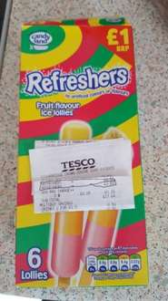 Refreshers 6 pack lollies was £1 now 50p instore tesco Stourbridge.