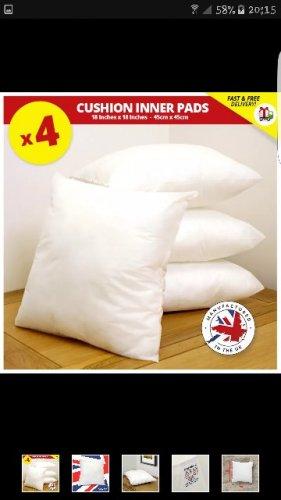 """4x 45cmx45cm cushion inners 18"""" £4.95 @ eBay / mobeloak-com"""