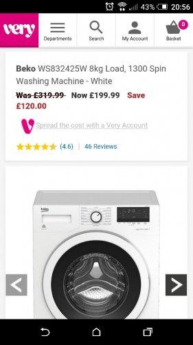 BekoWS832425W 8kg Load, 1300 Spin Washing Machine - White £199 @ Very