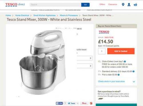 food mixer - £14.50 instore or online (+£2 C&C) @ Tesco