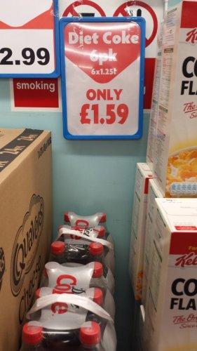 6 x 1.25litres Diet Coke £1.59 at Heron Foods