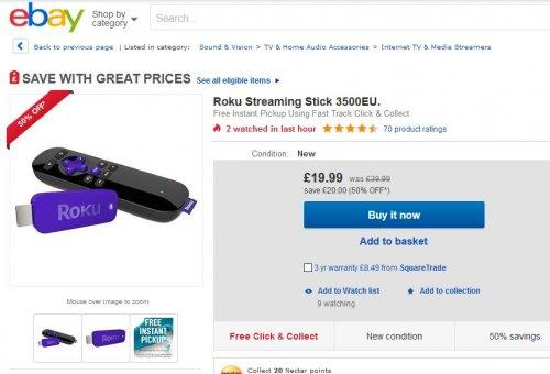 Roku Streaming Stick 3500EU - £19.99 ebay Argos.