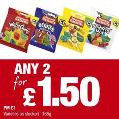 Bassetts Maynards Wine Gums, Berties Party Mix, Jelly Babies, Sports Mix (165g) price marked £1.00 any 2 for £1.50 @ Premier Stores