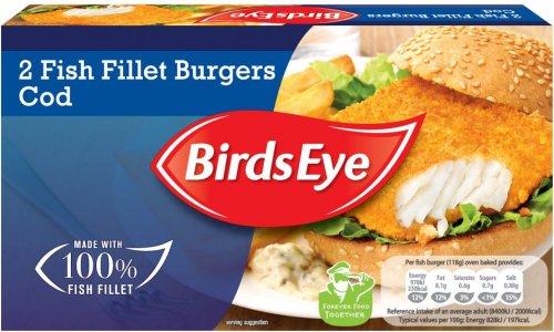 Bird's Eye Cod Fillet (56%) Burgers in Crumb (2 = 227g) was £2.47 now £2.00 @ Morrisons