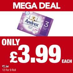 Andrex Gentle Clean Toilet Rolls 12 for the price of  9 rolls was £5.99 now only £3.99 @ Premier Stores