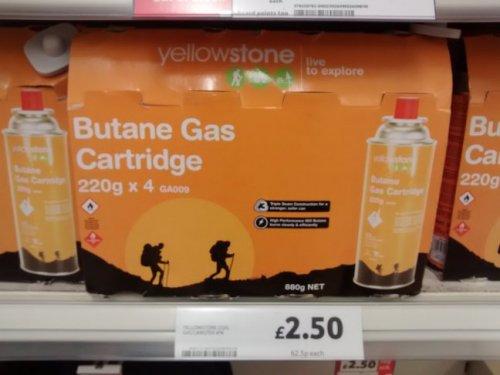 Yellowstone Butane Gas Canister 220g X4 £2.50 Tesco