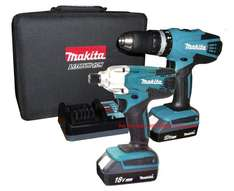 Makita 18v Lithium Ion Combi Drill and Impact Driver, Batteries and Charger £142 @ B&Q