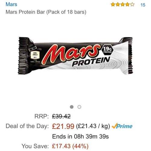 Mars protein bars (Pack of 18 bars) £21.99 @ Amazon