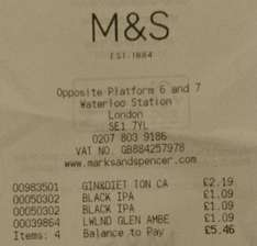 M&S Black IPA 330ml Bottle £1.09 @ London Waterloo