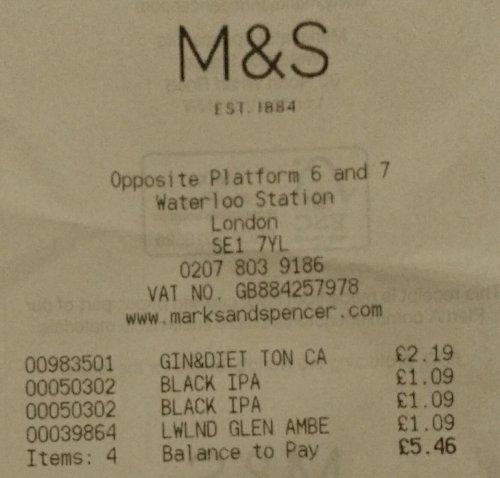 M&S Lowland Glen Amber 330ml Bottle £1.09 @ London Waterloo