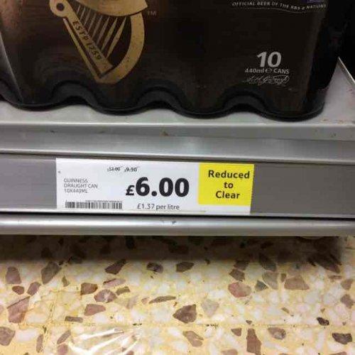 Guinness 10x440ml for £6.00 at Tesco instore