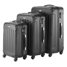 VonHaus 3pc Hard Shell ABS Trolley Suitcase Luggage Set with 4 Rotating Wheels & Combination Lock - Black at Domu UK/Amazon for £79.98