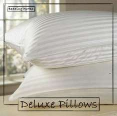 Cotton Cover Stripe Luxury Deluxe Super Bounce Back Pillows - 2 Pack £8.89 Delivered (4 Pack Available Too) @ beddingworkz ebay