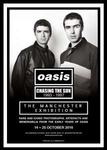 """Manchester Band Oasis """"Chasing The Sun"""" exhibition free entry 14-25th October @ Old Granada Studios, Manchester"""