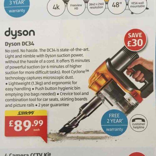 Dyson hand held DC34 £89.99 Aldi New Store Deal: Colchester Cowdray Avenue