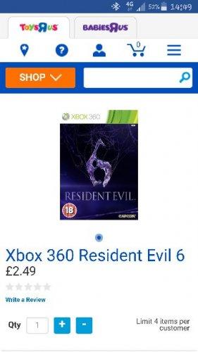 Res evil 6 xbox 360  £2.49 @ toys r us - Free c&c