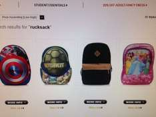 Kids Rucksacks from £8 to £4 Asda online
