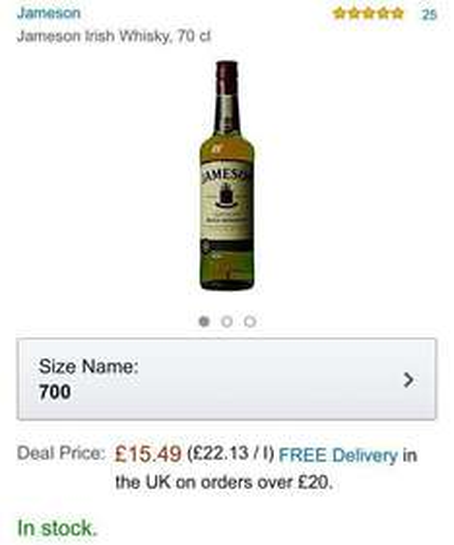 Jameson Irish Whisky 70cl £15.49 (Prime) @ Amazon