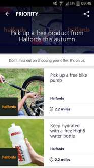 Free bike pump or water bottle from halfords. o2 customers