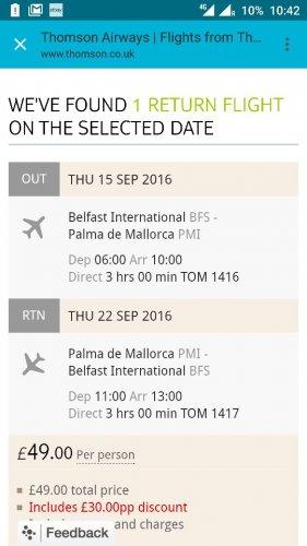 cheap return flight to Palma from Belfast 15-22.09 £49 thomson