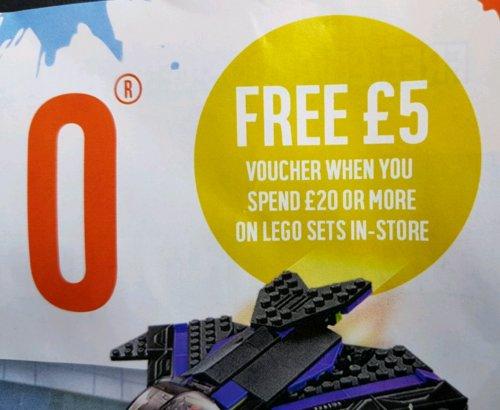 Receive a £5 gift voucher when you spend £20 on Lego @ Argos