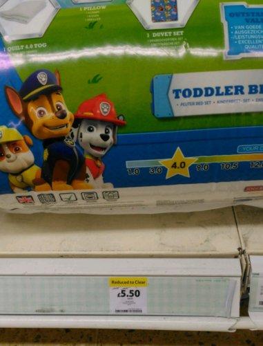 Paw Patrol Toddler Bed Set @ Tesco (instore) for £5.50