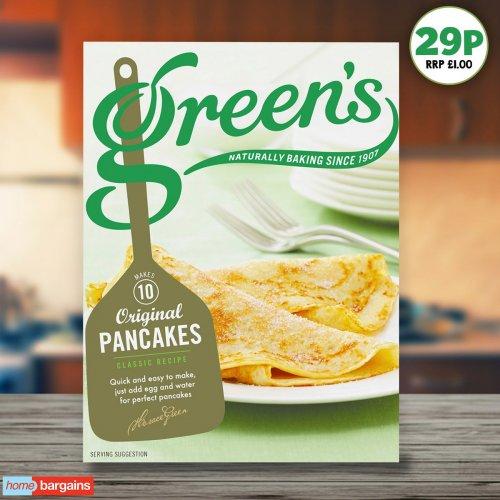 Green's original Pancake Mix (304g or 10 pancakes) 29p @ Homebargains