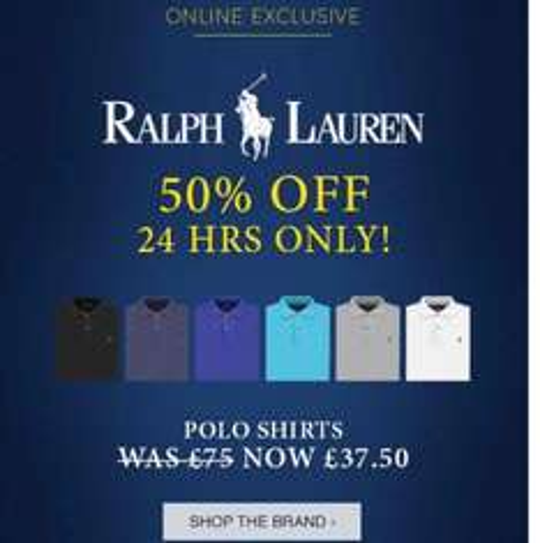 50% off all Ralph Lauren polo t-shirts @ blue INC online only £37.50