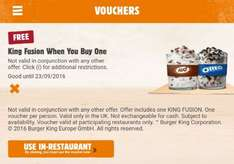 Free King Fusion When You Buy One @ Burger King Using App - £1.59