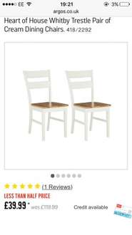 Two dining chairs £46.94 @ Argos