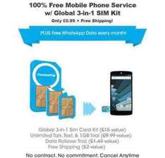 Freedompop UK Global ROAMING sim with free 100 min/200text/200MB/unlimited Whats App 99p