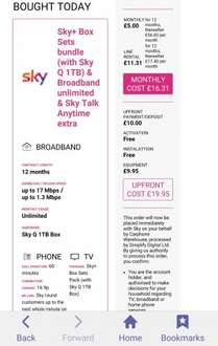 Sky TV Boxsets bundle, Sky Q 1TB , Broadband unlimited, Sky talk anytime. Instore Carphone Warehouse £16.21pm + £19.99 setup fee (new customers only) - £215.71