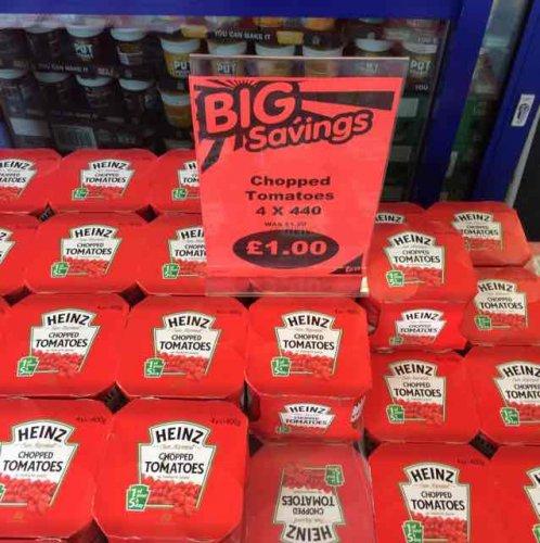 Heinz chopped tomatoes 4 x 400g £1 B&M in store