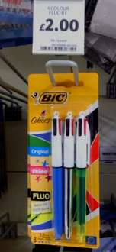 BIC 4 colour pens (pack of 3 - Original+Shine+FLUO) £2 in Tesco (Egham)