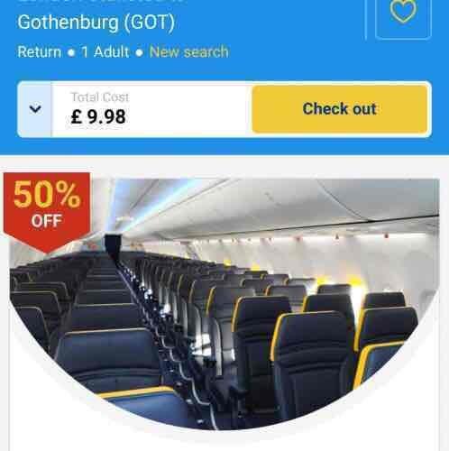 £4.99 each way to Gothenburg Sweden @ Ryanair