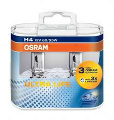Osram Ultra Life H4 - Twin Pack  £5.19  eurocarparts with code