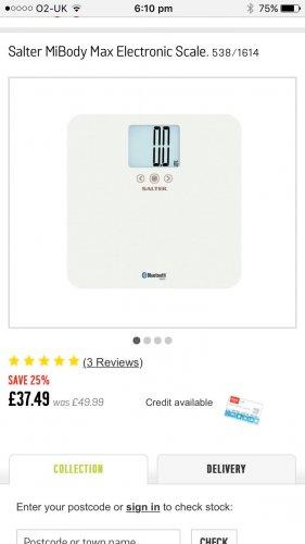 SALTER MiBODY BLUETOOTH SCALES £29.99 ARGOS
