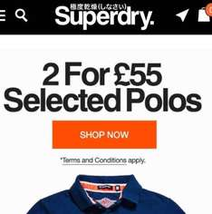 2 For £55 on selected Polos at Superdry plus possible 6% cash back