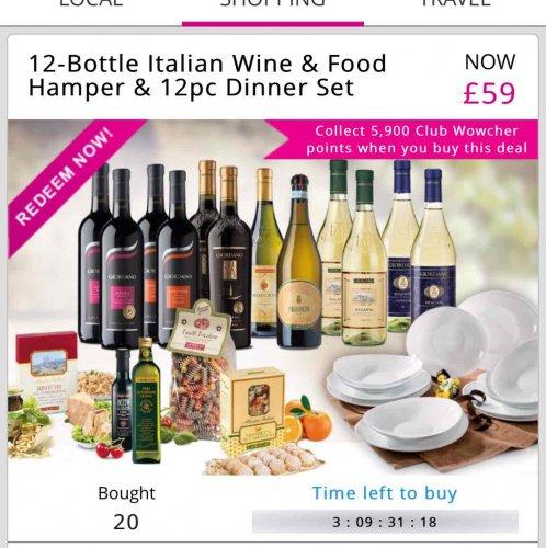 12 Bottles wine + dinner set + hamper £59 delivered!!! @ Wowcher