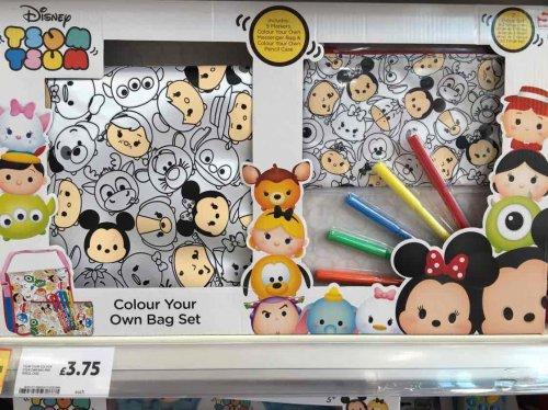 Tsum Tsum colour your own bag and pencil case set £3.75 Tesco instore - Spring hill